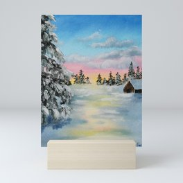 Winter Sunset Snow Scene Painting Mini Art Print