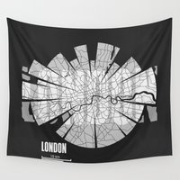 london map Wall Tapestries featuring London Map by Shirt Urbanization