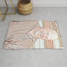 Rick Harrison Pawn Artistic Illustration Red Pencil Style Rug