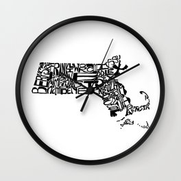 Typographic Massachusetts Wall Clock