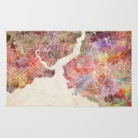 istanbul Area & Throw Rugs featuring Istanbul by MapMapMaps.Watercolors