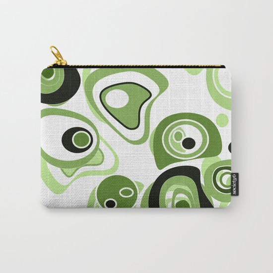 Abstract pattern . Black and green circles and rings on a white background . Carry-All Pouch