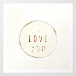 I Love You (Strawberries) Art Print