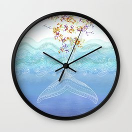 Flying whale Wall Clock