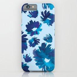 Royal Blue Watercolour Floral iPhone Case