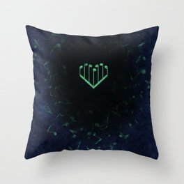 Music Heart old paper Throw Pillow