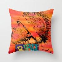 birdman Throw Pillows featuring Birdman by Jen Hynds