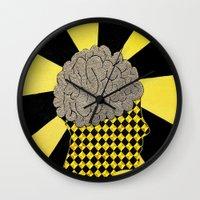 brain Wall Clocks featuring Brain by Art By Carob