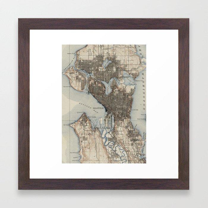Vintage Map of Seattle Washington (1908) Framed Art Print