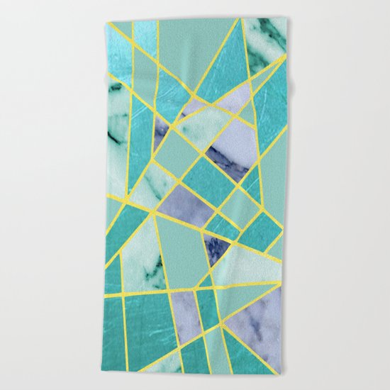 Abstract #439 in Green and Gold Beach Towel
