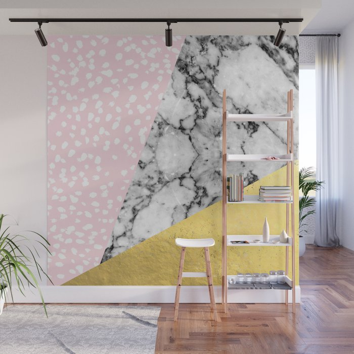 Corvi Marble Gold Foil And Pink Pastel Painting Abstract Art Dorm College Nursery Decor Gifts
