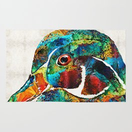 Colorful Wood Duck Art by Sharon Cummings Rug