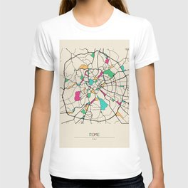 Colorful City Maps: Rome, Italy T-shirt