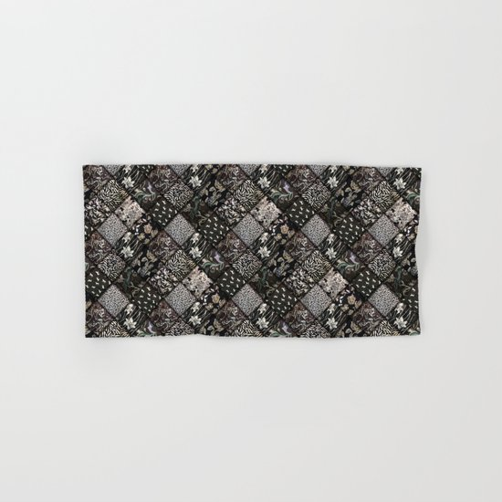 Faux Patchwork Quilting - Black Hand & Bath Towel