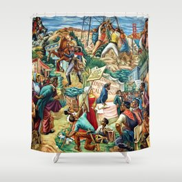 """African American Classical Masterpiece """"Justice Under the Law"""" by Hale Woodruff Shower Curtain"""