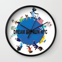 Dream big fun NYC fashionista cats Wall Clock