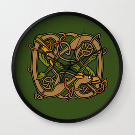Celtic Hounds Knot One Wall Clock