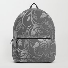 Luxury chic faux silver glitter floral Backpack
