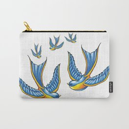 Flock Of Cute Tattoo Style Swallows Vector Carry-All Pouch