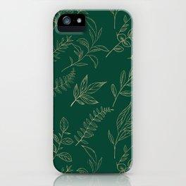 Elegant forest green gold foil foliage iPhone Case