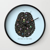games Wall Clocks featuring Your Brain On Video Games by Terry Fan