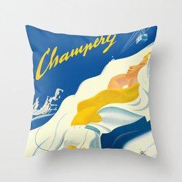 Vintage Champery Switzerland Travel Throw Pillow