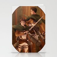 attack on titan Stationery Cards featuring Haikyuu!! Attack on Titan Crossover: Oikawa and Iwaizumi by JBadgr