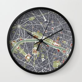 Paris city map engraving Wall Clock
