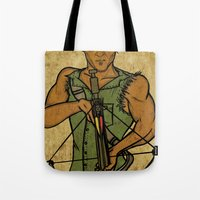 daryl Tote Bags featuring Daryl by Aqua Ink Graphics