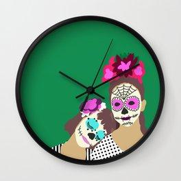 Sugar Skull Halloween Girls Green Wall Clock