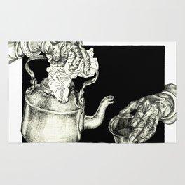 Geometric Black and White Drawing Tea Pot Time Rug