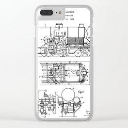 Steam Train Patent - Steam Locomotive Art - Black And White Clear iPhone Case