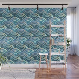 Blue fish scales pattern Wall Mural