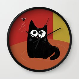 A cat and a fly in warm Wall Clock