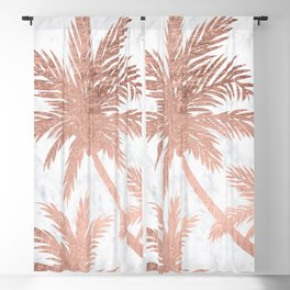 Tropical simple rose gold palm trees white marble Blackout Curtain