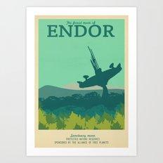 Retro Travel Poster Series - Star Wars - Endor Art Print