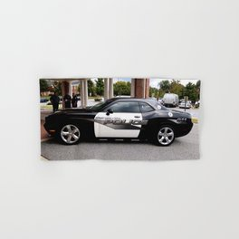 Gainesville Florida Police Challenger Black and White Patrol Car Hand & Bath Towel