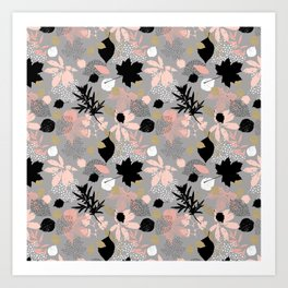 Abstract maple leaves autumn in pink and gray colors Art Print