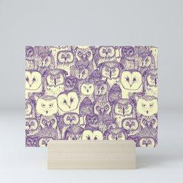 just owls purple cream Mini Art Print