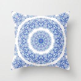 Blue White Floral Mandala Throw Pillow