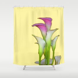 PURPLE WHITE CALLA LILIES FLORAL YELLOW ART Shower Curtain