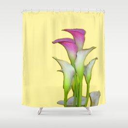 PURPLE & WHITE CALLA LILIES FLORAL YELLOW ART Shower Curtain