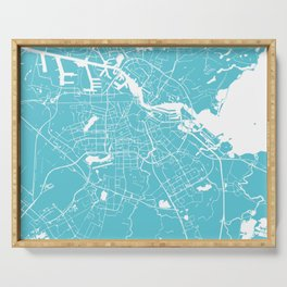 Amsterdam Turquoise on White Street Map Serving Tray