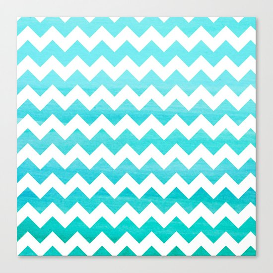 Aqua Blue chevron ZigZag Herringbone - watercolor on white pattern #Society6 Canvas Print