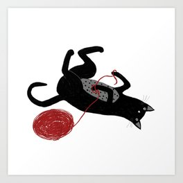 Black Cat with Wool Art Print
