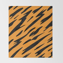 Bold and Beautiful Black and Orange Abstract Tiger Striped Pattern Throw Blanket