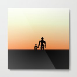 New Day Sunrise or Sunset for Father and Child Wooden Dolls Metal Print