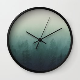 trees in fog forest landscape photography - cloudy nature Wall Clock