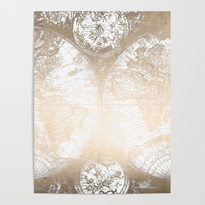 Gold World Map Poster.Antique White Gold World Map Poster By Naturemagick Society6