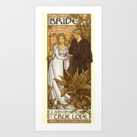 bride Art Prints featuring Bride by Karen Hallion Illustrations